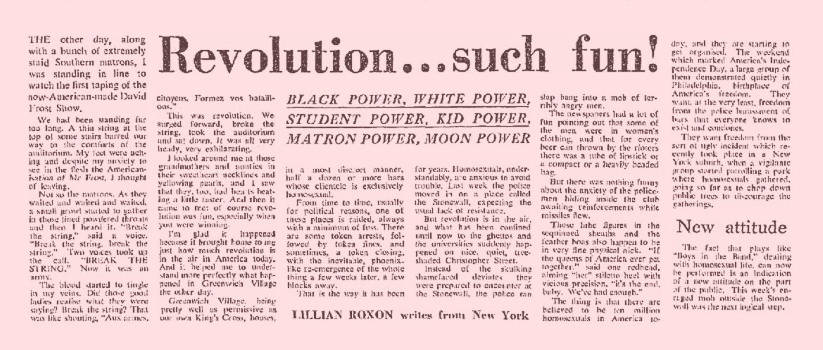 Revolution… such fun / Lillian Roxon, Sydney Morning Herald (Sydney, NSW), 16 July 1969, p2, Newspaper Clipping Collection