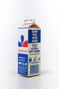 Safe sex and AIDS milk carton – Victorian AIDS Council,1987 (Photo: Loo Zihan)