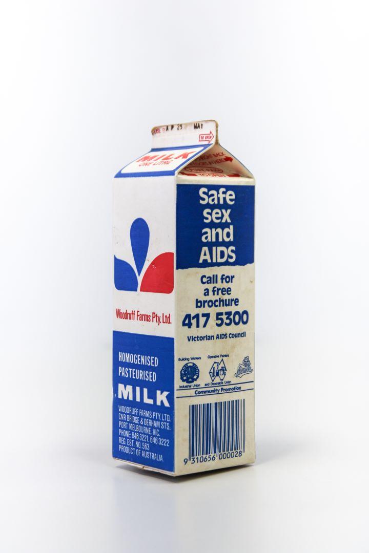 Safe sex and AIDS milk carton - Victorian AIDS Council,1987 (Photo: Loo Zihan)