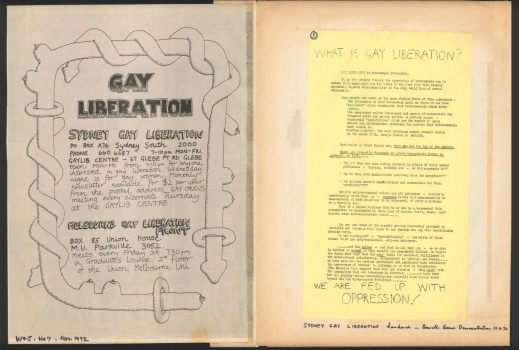Scrapbook compiled by John Lee relating to Sydney Gay Liberation, 1970-1973, p32-33, Papers of Terrence (Terry) Bell