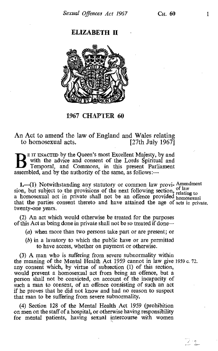 Sexual Offences Act 1967 Chapter 60 (London, United Kingdom : UK Government Printing Office, 1967), Book Collection