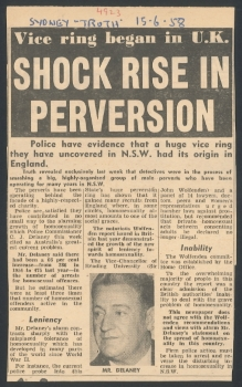 Shock rise in perversion, Truth (Sydney, NSW), 15 June 1958, Papers of G.R.