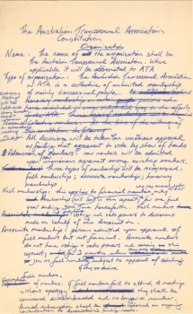 The Australian Transsexual Association Constitution [draft], c.1980, Papers of Roberta Perkins