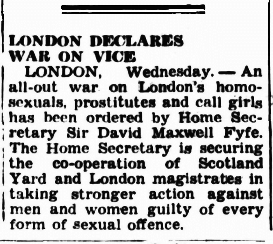 London declares war on vice, The Canberra Times (Canberra, ACT), 29 October 1953, Newspaper clipping collection