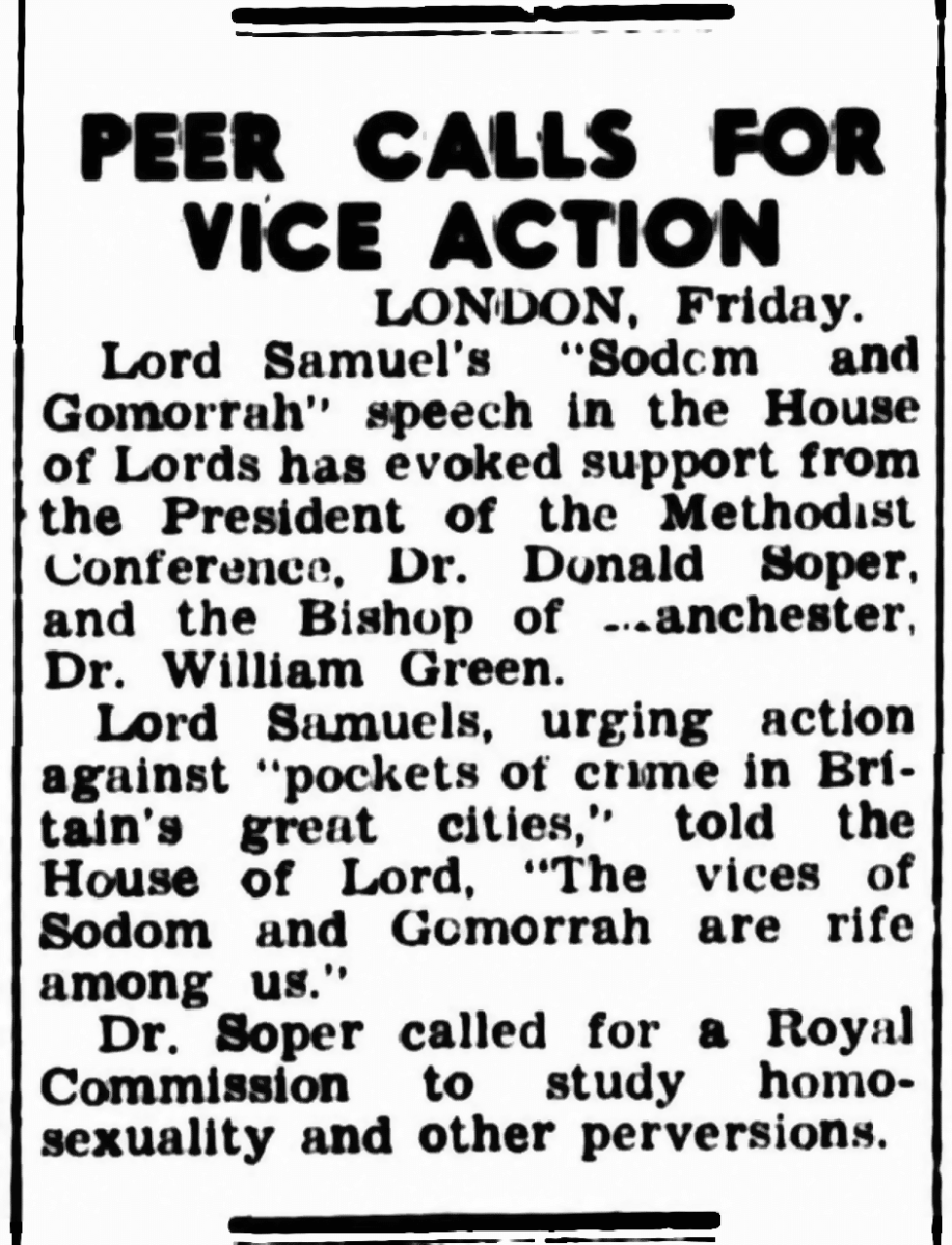 Peer calls for vice action, The Canberra Times (Canberra, ACT), 7 November 1953, p2, Newspaper clipping collection