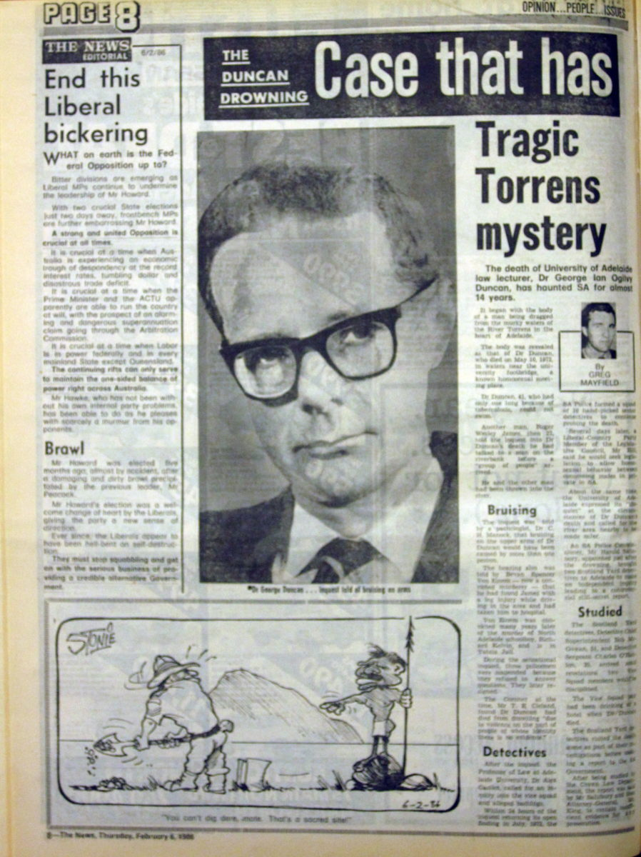 The Duncan drowning - case that has haunted SA for 14 years, The News (Adelaide, SA), 6 February 1986, p8, Newspaper Clipping Collection