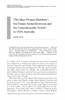 """""""The Man-Woman Murderer"""": Sex Fraud, Sexual Inversion and the Unmentionable """"Article"""" in 1920s Australia / Ruth Ford ([Oxford] : Blackwell Publishers) Gender & History, v.12 n.1 April 2000, pp. 158–196"""
