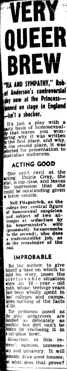 Very queer brew [Tea and Sympathy], Truth (Melbourne), 15 September 1956, p3, Newspaper Clipping Collection