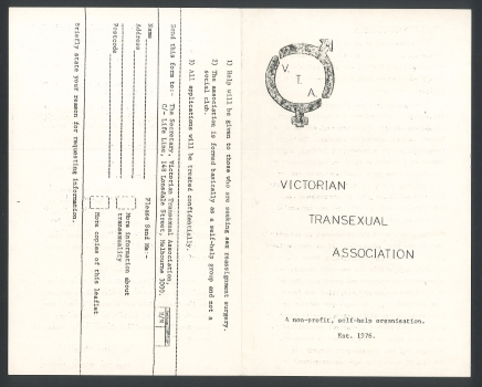 Victorian Transexual Association [brochure], p.1, c.1976