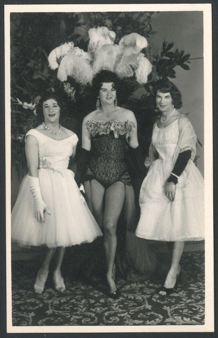 Zita, Lottie and unidentified, Arts Ball, c.1960s., Robert Albert Lott (Lottie) Collection (Photo: Unidentified photographer)